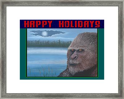 Bigfoot Happy Holidays Framed Print by Stuart Swartz