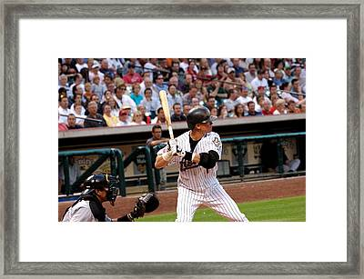 Biggio Batting Framed Print by Teresa Blanton