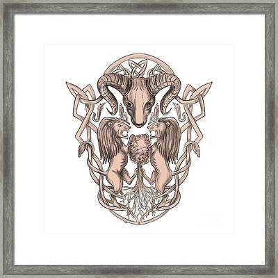 Bighorn Sheep Lion Tree Coat Of Arms Celtic Knotwork Tattoo Framed Print