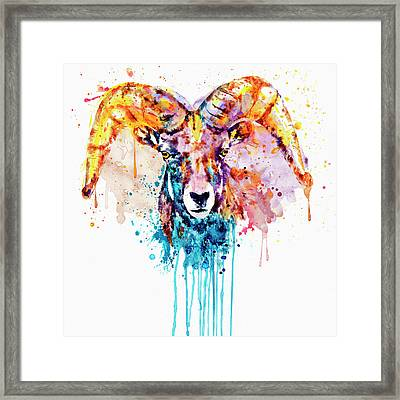 Framed Print featuring the mixed media Bighorn Sheep Portrait by Marian Voicu