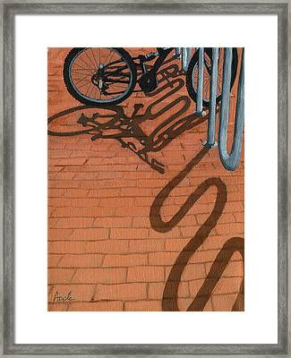 Bike And Bricks No.2 Framed Print by Linda Apple