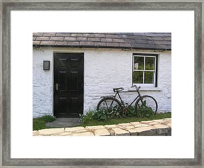 Bike And Irish Cottage Framed Print