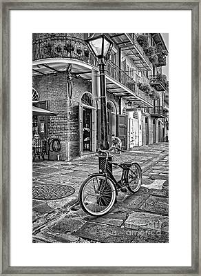 Bike And Lamppost In Pirate's Alley- Bw Framed Print by Kathleen K Parker