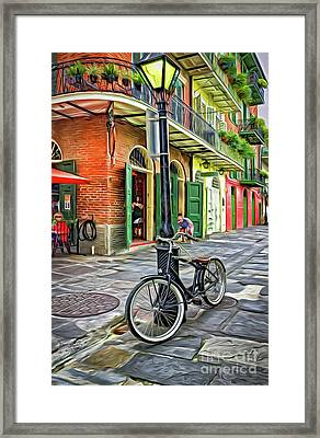Bike And Lamppost In Pirates Alley-painted Framed Print by Kathleen K Parker