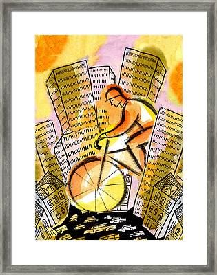 Bike And The City Framed Print