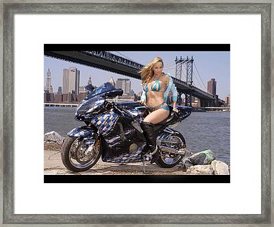 Bike, Babe, And Bridge In The Big Apple Framed Print by Lawrence Christopher