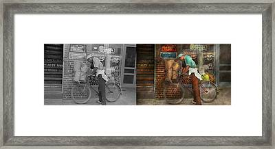Bike - Delivering Groceries 1938 - Side By Side Framed Print by Mike Savad