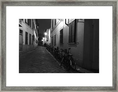 Bike Lined Alley Framed Print