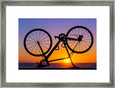 Bike On Seawall Framed Print by Garry Gay