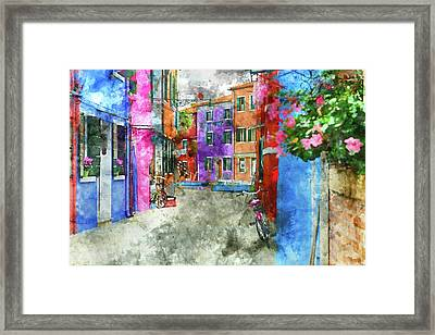 Bike On The Wall On The Island Of Burano - Venice, Italy Framed Print by Brandon Bourdages