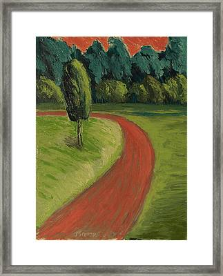 Bike Path Through The Greenbelt Framed Print by Clarence Major