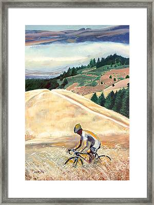 Bike Ride Above Bolinas Fog Framed Print by Colleen Proppe
