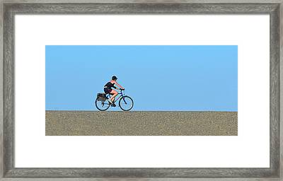 Bike Rider On Levee Framed Print