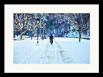Snow Kelly Drive Framed Prints