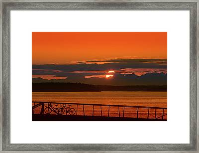 Bike Sunset Framed Print