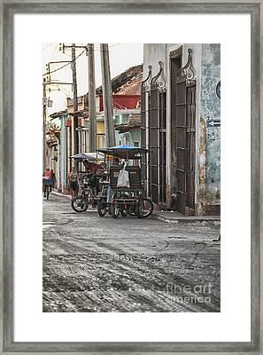 Bike Taxis In Trinidad Framed Print by Patricia Hofmeester