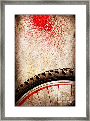 Bike Wheel Red Spray Framed Print by Silvia Ganora