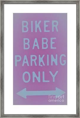 Biker Babe Parking Framed Print by Chrisann Ellis