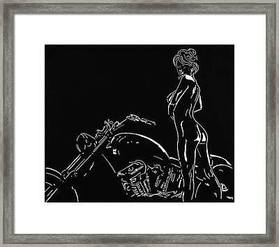 Framed Print featuring the drawing Biker Biach by Mayhem Mediums