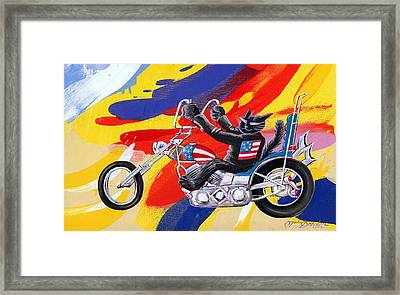 Biker Cat Framed Print