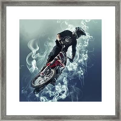 Flying In The Sky - Biker In Smoke Framed Print