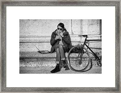 Biker In Paris Framed Print by Pablo Lopez