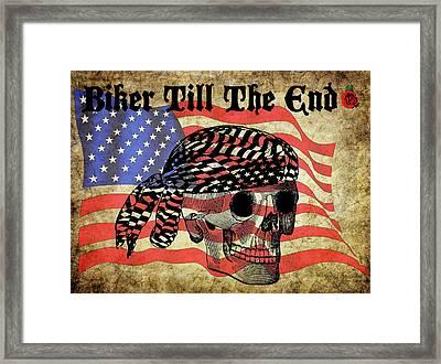 Biker Skull American Flag Old Paper Art Framed Print
