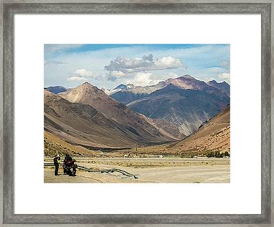 Bikers And The Andes Mountains Framed Print