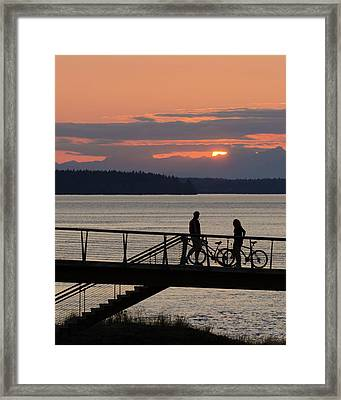 Bikers At Sunset Framed Print