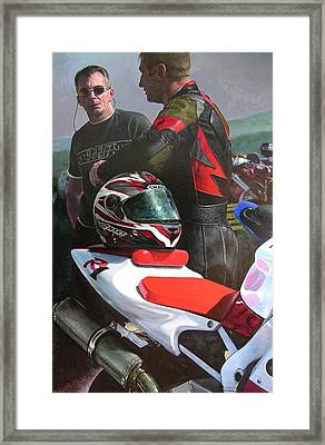 Framed Print featuring the painting Bikers At The Horseshoe Pass by Harry Robertson