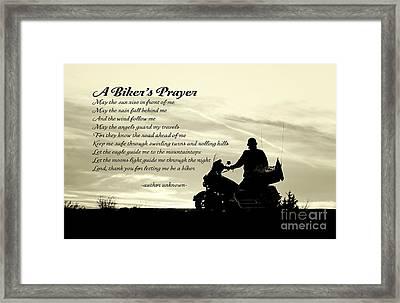 Biker's Prayer Framed Print