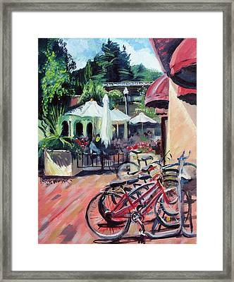 Bikes At The Depot Cafe Framed Print by Colleen Proppe