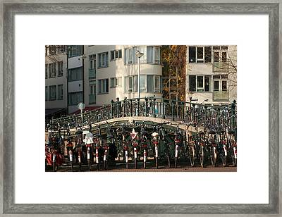 Bikes Bridge And Bird Framed Print