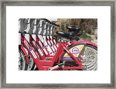 Bikes For Rent Framed Print by Juli Scalzi