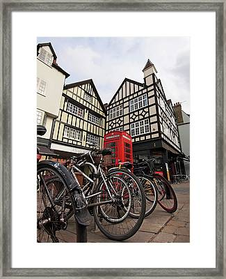 Framed Print featuring the photograph Bikes Galore In Cambridge by Gill Billington