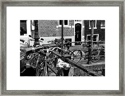 Bikes Hanging Out Mono Framed Print by John Rizzuto