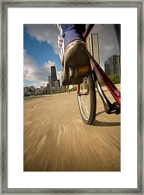 Biking Chicagos Lakefront Framed Print by Steve Gadomski