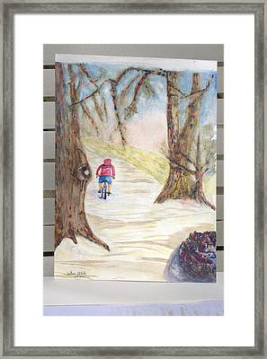 Biking In The Woods Framed Print by Jonathan Galente