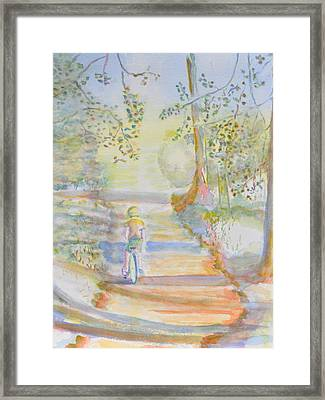 Biking In The Woods Framed Print by MaryBeth Minton