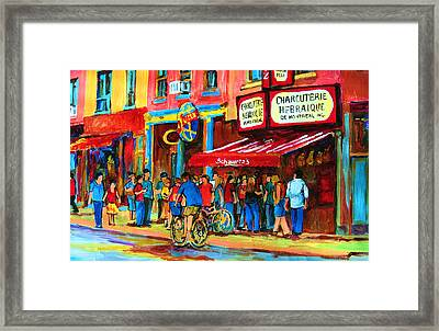 Biking Past The Deli Framed Print