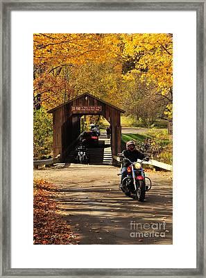 Biking The Historic Fallasburg Covered Bridge Framed Print