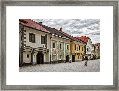 Framed Print featuring the photograph Biking Through Radovljica - Slovenia by Stuart Litoff