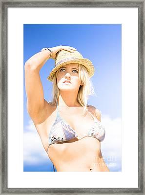 Bikini Lady Against Blue Sky Background Framed Print by Jorgo Photography - Wall Art Gallery