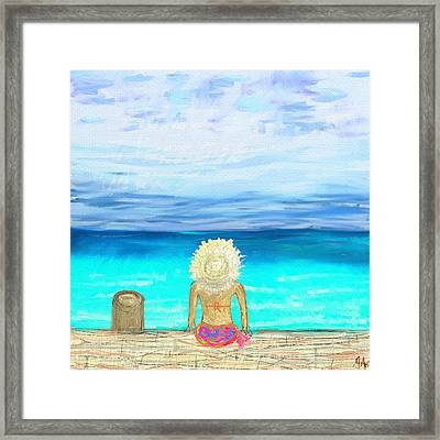 Bikini On The Pier Framed Print