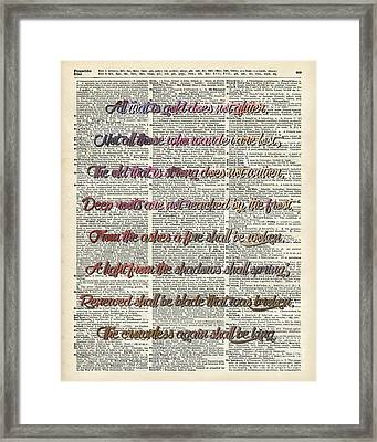 Bilbo Baggins Quote Vintage Art Framed Print