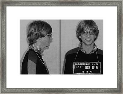 Bill Gates Mug Shot Horizontal Black And White Framed Print by Tony Rubino