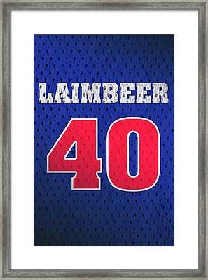 Bill Laimbeer Detroit Pistons Number 40 Retro Vintage Jersey Closeup Graphic Design Framed Print