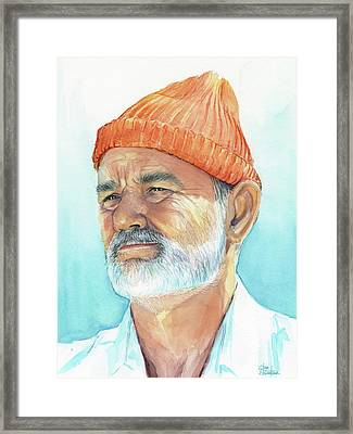 Bill Murray As Steve Zissou Of Life Aquatic Framed Print by Olga Shvartsur