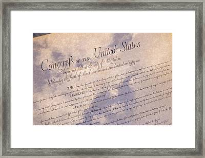 Bill Of Rights With Clouds Framed Print by Jack R Perry