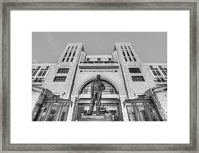 Bill Snyder Family Stadium In Black And White Framed Print by JC Findley